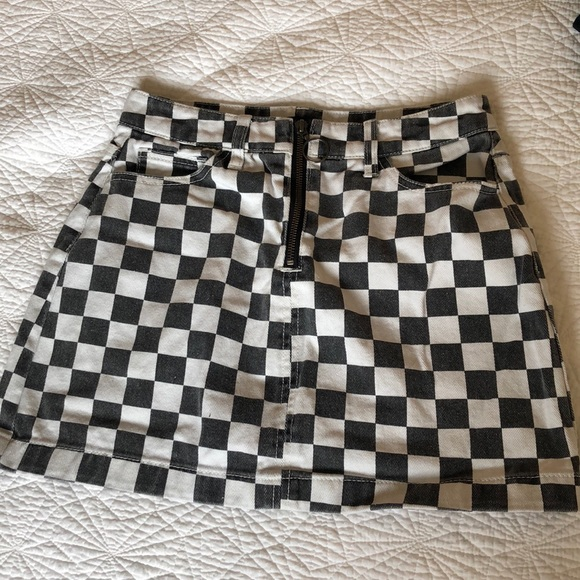 5d1cf84d6 Urban Outfitters Skirts | Bdg Zip Up Checkered Denim Mini Skirt ...